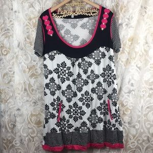 Joe Browns sz 14 dress NWOT black white pink